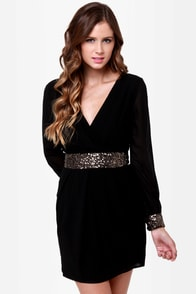 Stay the Quartz Black Sequin Dress