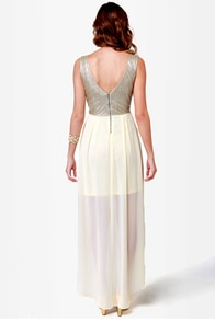 Over the Moon Cream and Gold Dress at Lulus.com!