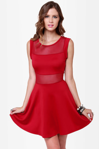 Center Piece Cutout Red Dress