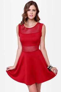 Center Piece Cutout Red Dress