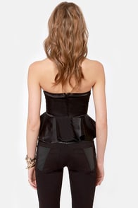 LULUS Exclusive Just a Kiss Black Peplum Bustier Top at Lulus.com!