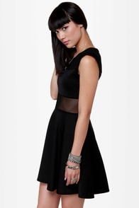 Center Piece Cutout Black Dress at Lulus.com!