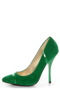 Shoe Republic LA Silva Jade Green Pointed Pumps
