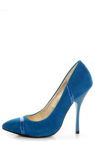 Shoe Republic LA Silva Teal Blue Pointed Pumps