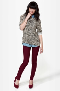 Down for Whatever Burgundy Skinny Pants at Lulus.com!