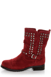 Promise Abigail Wine Red Studded Motorcycle Ankle Boots at Lulus.com!