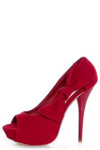 Adele 1 Red Velvet Peek-a-Bow Platform Pumps