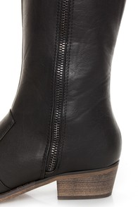 Mixx Shuz Daniel Black Knee High Riding Boots at Lulus.com!
