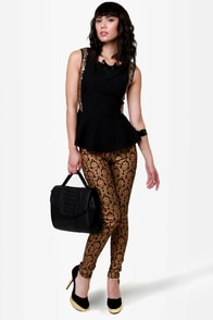 Baroque \\\\\\\\\\\\\\\'n\\\\\\\\\\\\\\\' Roll Black and Gold Skinny Pants