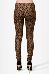 Baroque 'n' Roll Black and Gold Skinny Pants at Lulus.com!