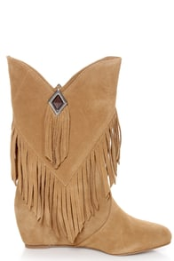 Obsession Rules Hopey Luggage Suede Fringe Wedge Boots at Lulus.com!