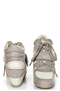 Wild Diva Lounge Bubble 02 Light Grey Lace-Up Wedge Sneakers at Lulus.com!