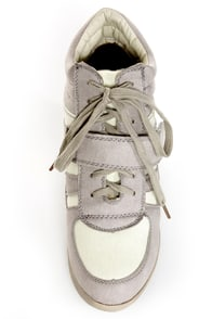 Wild Diva Lounge Bubble 02 Light Grey Lace-Up Wedge Sneakers