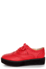 Oxia Burgundy Red Brogue Oxford Platform Creepers at Lulus.com!