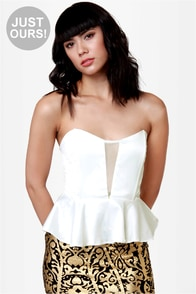 LULUS Exclusive Just a Kiss Ivory Peplum Bustier Top