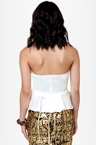 LULUS Exclusive Just a Kiss Ivory Peplum Bustier Top at Lulus.com!