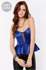 Just a Kiss Blue Peplum Bustier Top at Lulus.com!