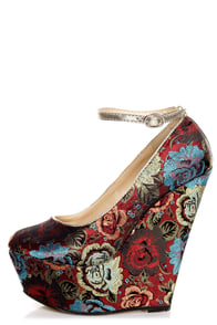 Torri Red Floral Brocade Platform Wedges