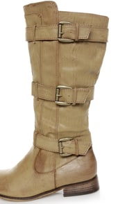 Cowgirl 2 Beige Belted Riding Boots