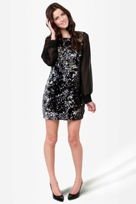 Alchemical Romance Black and Silver Sequin Dress at Lulus.com!