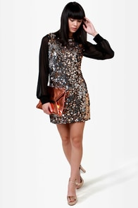 Alchemical Romance Black and Gold Sequin Dress at Lulus.com!