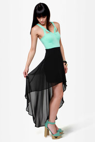 All's Well Black and Mint Green Dress at Lulus.com!