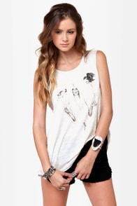 Somedays Lovin\' Mad Raven Grey Print Muscle Tee