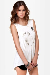 Somedays Lovin' Mad Raven Grey Print Muscle Tee at Lulus.com!