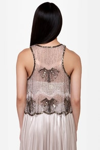 Return to Splendor Sheer Beaded Top at Lulus.com!