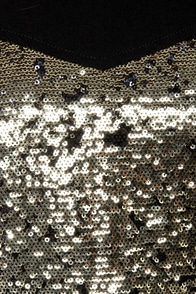 Act of Gold Black and Gold Sequin Dress at Lulus.com!