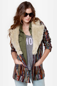 Mink Pink Kooky Multi Yarn Striped Coat