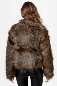 Somedays Lovin' Party Boy Brown Cropped Faux Fur Jacket at Lulus.com!