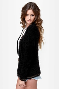 Mink Pink Chain Reaction Fuzzy Black Cardigan Sweater at Lulus.com!