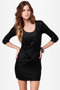 Mink Pink Twister Sister Black Dress