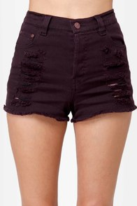 Mink Pink Runaway Phantom Slashed Purple Jean Shorts at Lulus.com!