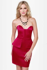 Satin-um Record Strapless Red Dress
