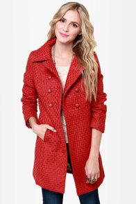 Tulle Cinnabar Rust Red Coat