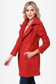 Tulle Cinnabar Rust Red Coat