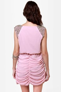 Chic on Your Shoulders Beaded Pink Dress at Lulus.com!