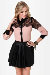 Don't Stop Believing Blush Lace Button-Up Top