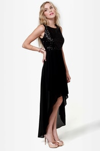 Midnight Magic Black Sequin High-Low Dress at Lulus.com!