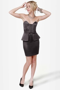 Satin-um Record Strapless Charcoal Grey Dress at Lulus.com!