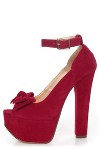 Luichiny Van Essa Red Knotty Bow Peep Toe Platform Heels