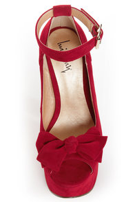 Luichiny Van Essa Red Knotty Bow Peep Toe Platform Heels at Lulus.com!