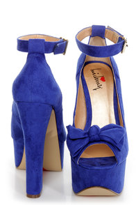 Luichiny Van Essa Cobalt Blue Knotty Bow Peep Toe Platform Heels at Lulus.com!