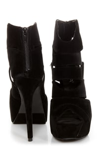 Shelly 4 Black Peep Toe Cutout Booties at Lulus.com!