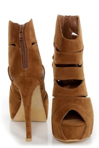 Shelly 4 Tan Peep Toe Cutout Booties