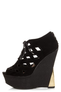 Sanders 27 Black Lace-Up Lattice Cutout Shootie Wedges