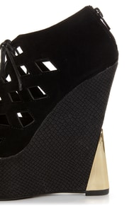 Sanders 27 Black Lace-Up Lattice Cutout Shootie Wedges at Lulus.com!