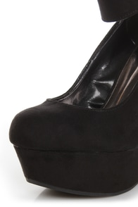 Cilo 41 Black Ankle Strap Platform Wedges at Lulus.com!